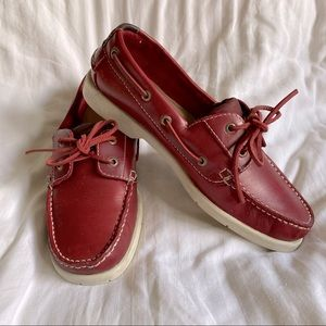 Rockport Red Leather Boat Shoes Size 6